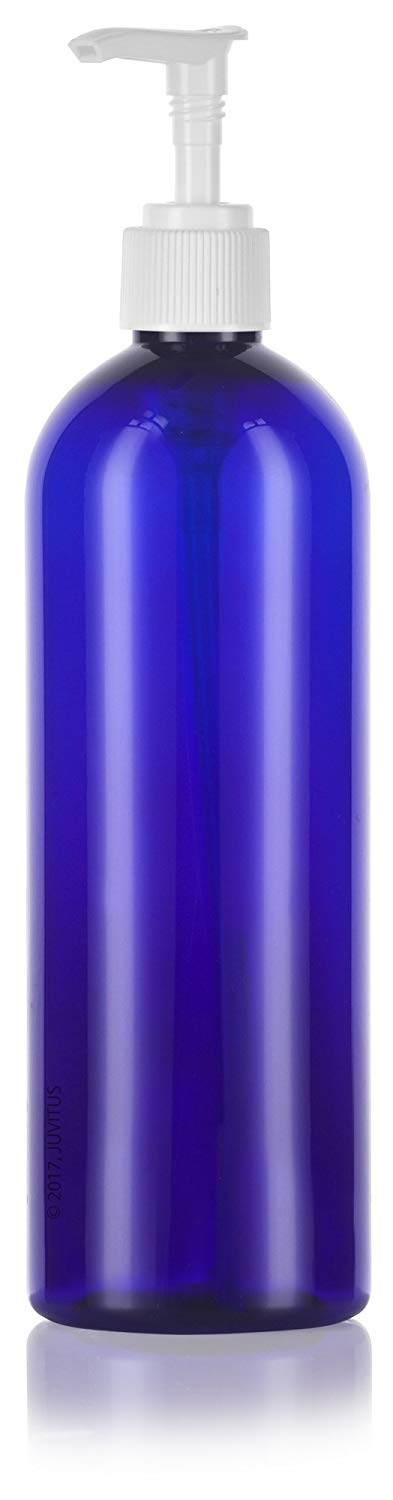 Cobalt Blue Plastic Slim Cosmo Bottle with White Lotion Pump - 16 oz / 500 ml