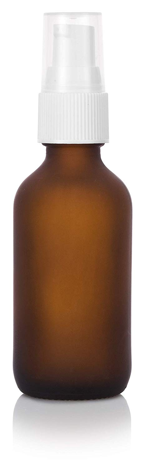 Frosted Amber Glass Boston Round Treatment Pump Bottle with White Top - 2 oz / 60 ml
