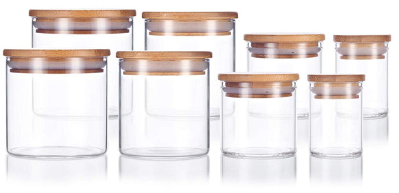 8 Piece Premium Borosilicate Glass Jars with Bamboo Air Tight Lids, Multi Size for Kitchen, Bathroom, Craft, Home, and Business