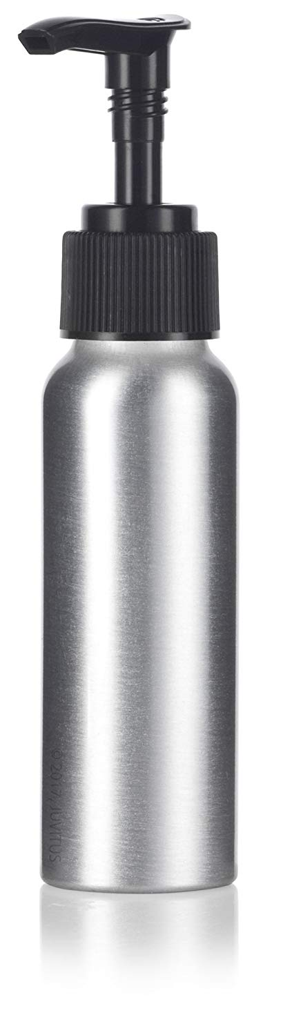 Metal Aluminum Bottle in Silver with Black Lotion Pump - 2.7 oz / 80 ml