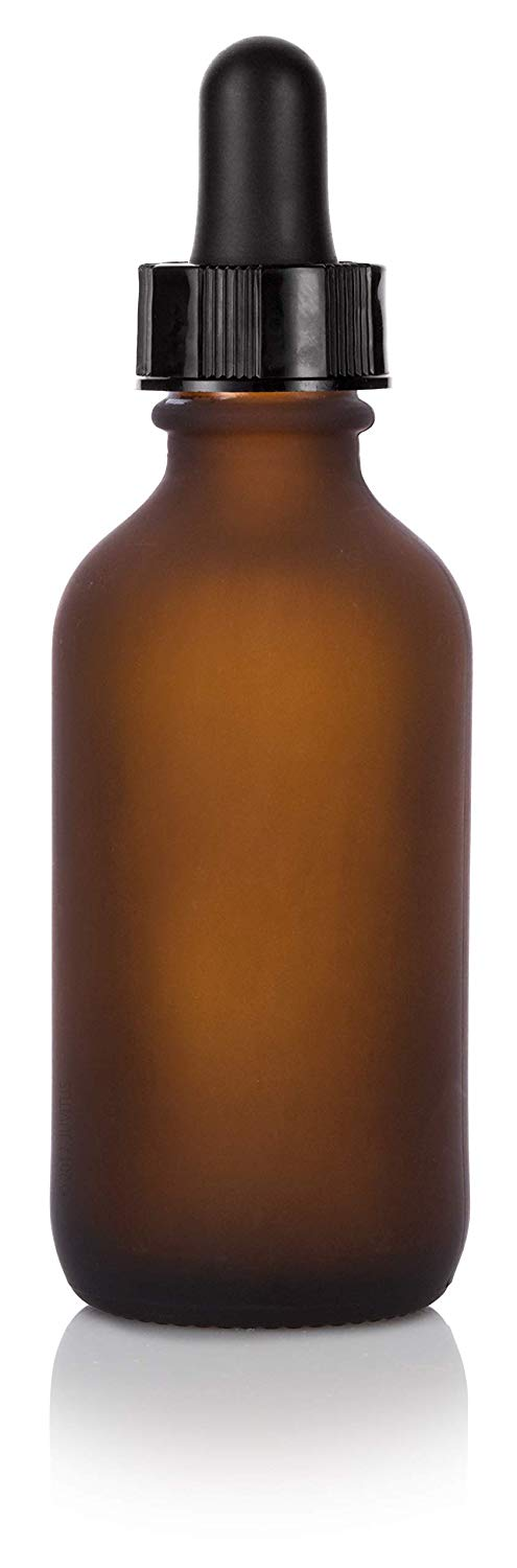 Frosted Amber Glass Boston Round Dropper Bottle with Black Top - 2 oz / 60 ml