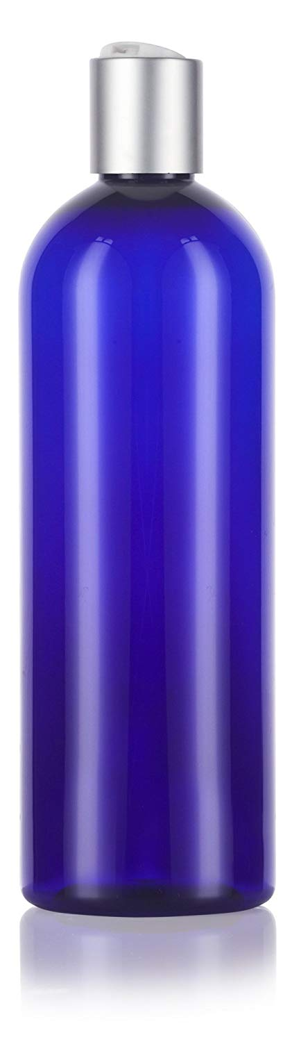 Cobalt Blue Plastic Slim Cosmo Bottle with Silver Disc Cap - 16 oz / 500 ml