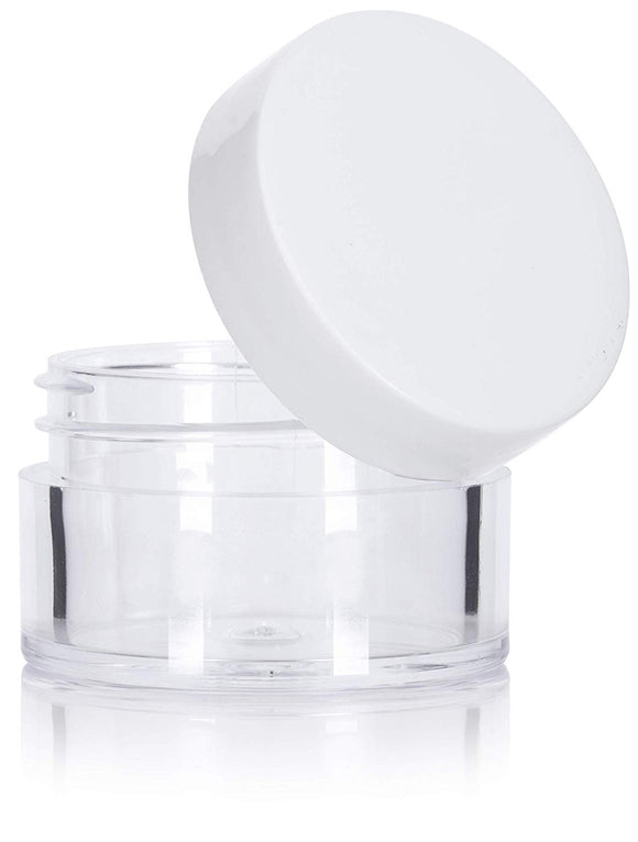Plastic Acrylic Balm Jar in Clear with White Foam Lined Lid - .5 oz / 15 ml