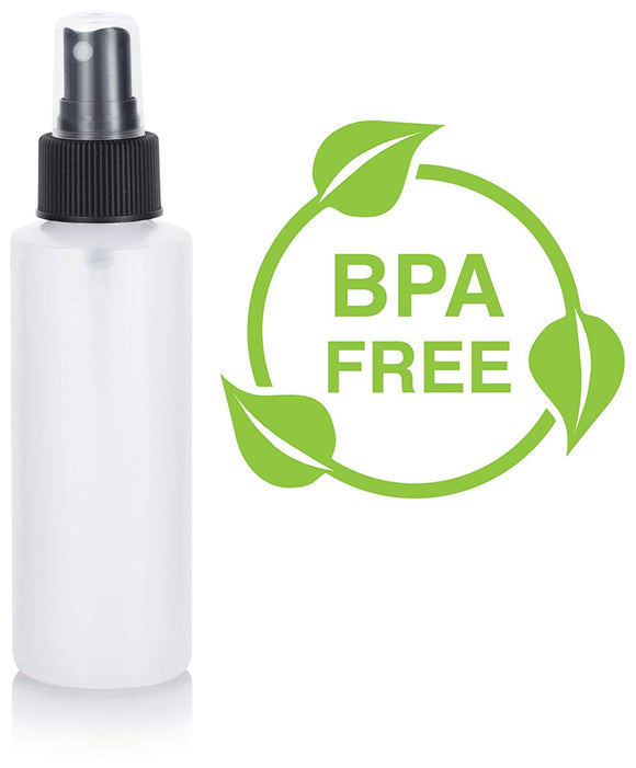 Natural Clear Plastic Squeeze Bottle with Black Fine Mist Spray - 4 oz / 120 ml