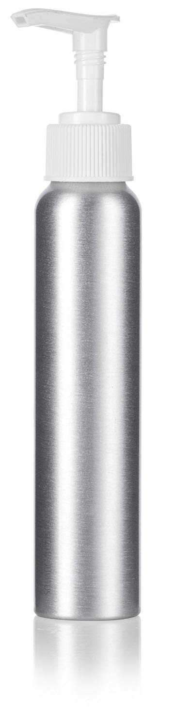 Silver Metal Aluminum Bottle with White Lotion Pump - 4 oz / 120 ml