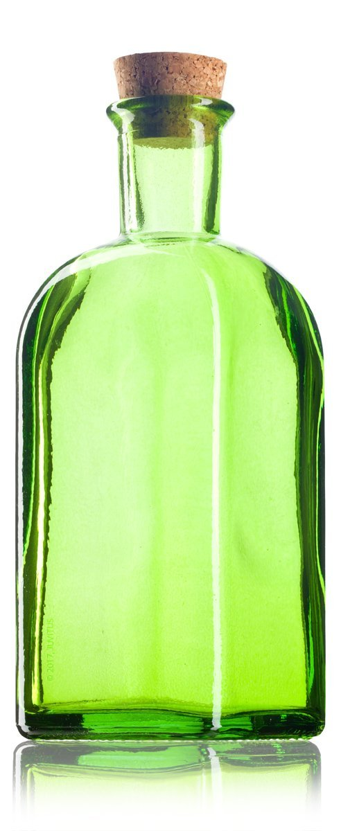 Green Glass Spanish Bottle with Natural Cork Top - 8 oz / 250 ml