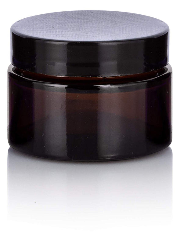 Amber Glass Balm Jar with Black Lid - 1 oz / 30 ml
