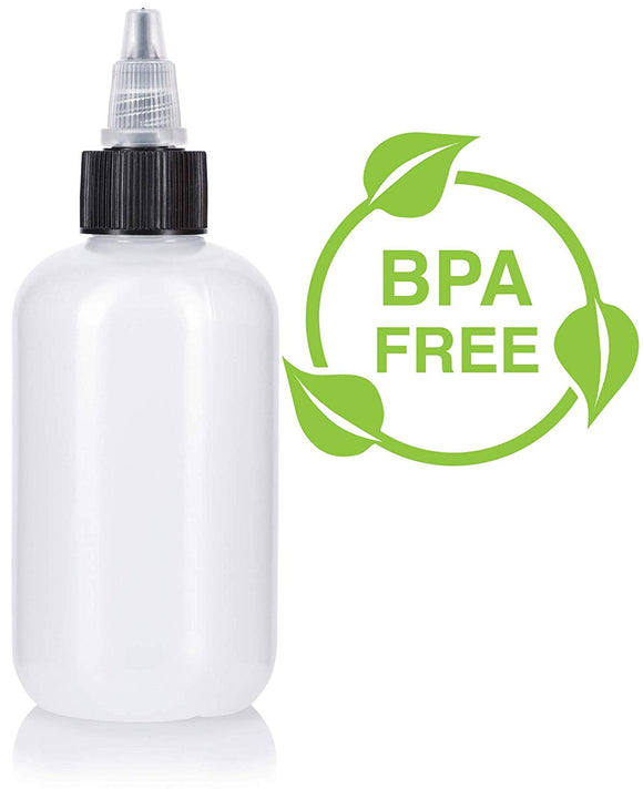 Plastic Squeeze LDPE Bottle in Natural Clear with Black Twist Top Spout - 4 oz / 120 ml
