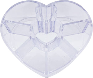 Clear Plastic Heart 8 Compartment Storage Case Organizer for Lipticks, Makeup, and Cosmetics