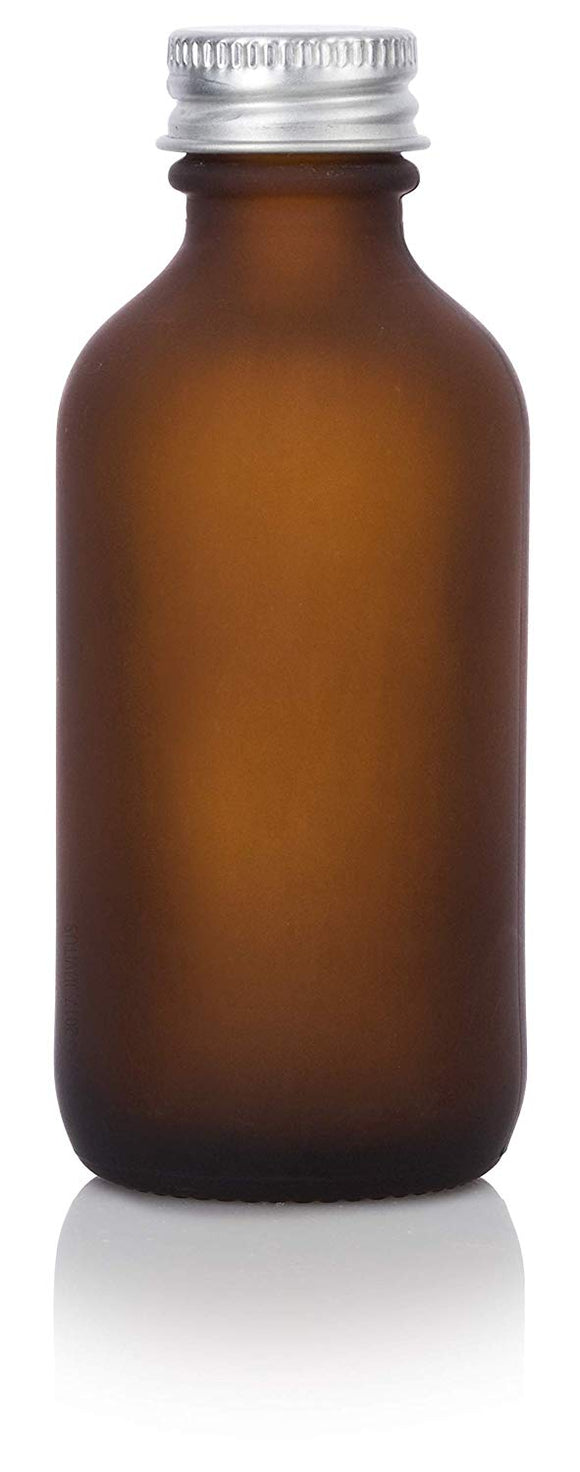 Frosted Amber Glass Boston Round Screw Bottle with Silver Metal Cap - 2 oz / 60 ml