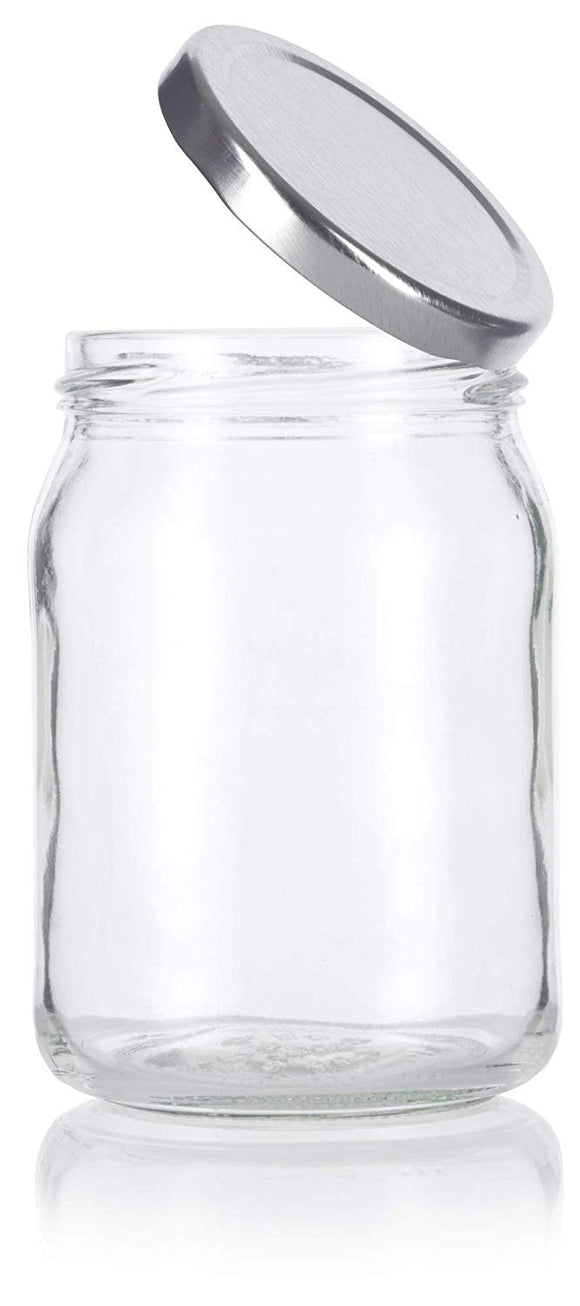 Glass Wide Mouth Candle Jar in Clear with Silver Metal Plastisol Lid - 13 oz / 380 ml