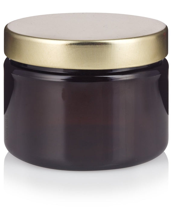 Plastic Low Profile Jar in Amber with Gold Metal Foam Lined Lid - 3 oz / 90 ml