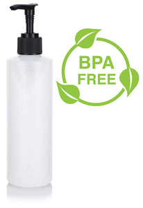 Natural Clear Plastic Squeeze Bottle with Black Lotion Pump - 8 oz / 240 ml