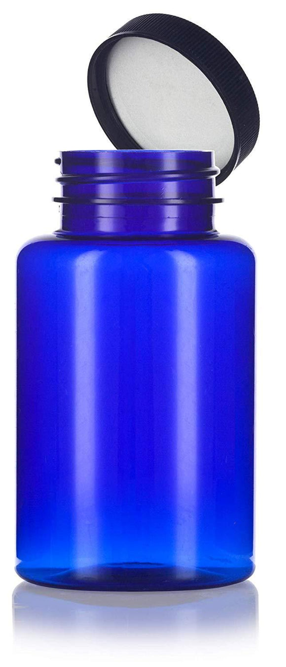 Plastic Wide Mouth Packer Bottle in Cobalt Blue with Black Ribbed Lid - 8 oz / 250 ml