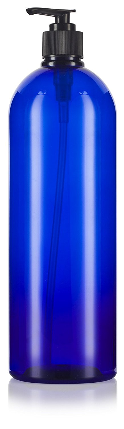 Cobalt Blue Plastic Slim Cosmo Bottle with Black Lotion Pump - 32 oz / 950 ml