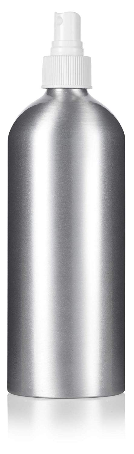 Metal Aluminum Bottle in Silver with White Fine Mist Spray - 16 oz / 500 ml