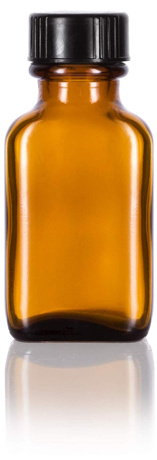 Glass Rectangle Bottle in Amber with Black Phenolic Cap - 1 oz / 30 ml