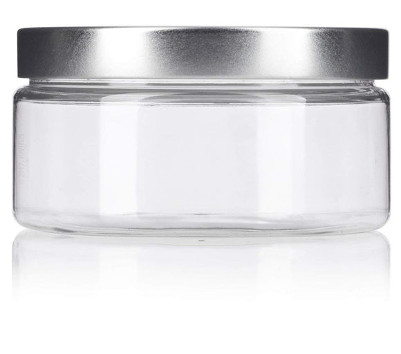 Plastic Low Profile Jar in Clear with Silver Metal Foam Lined Lid - 8 oz / 240 ml
