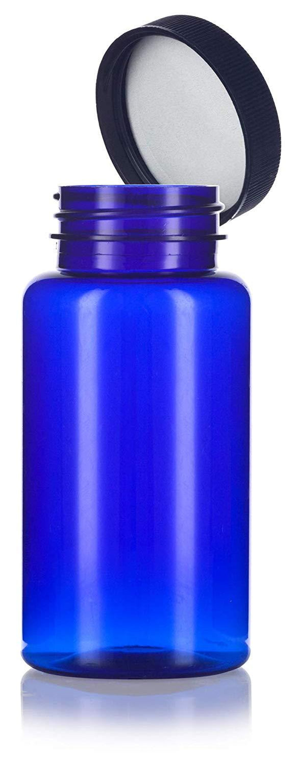 Plastic Wide Mouth Packer Bottle in Cobalt Blue with Black Ribbed Lid - 5 oz / 150 ml