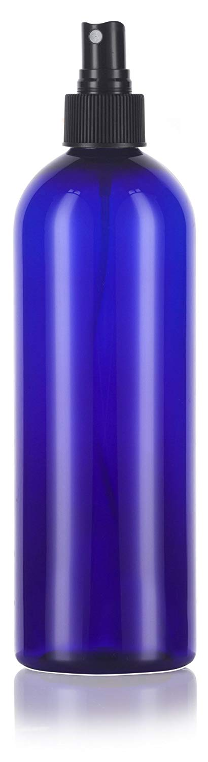Cobalt Blue Plastic Slim Cosmo Bottle with Black Fine Mist Spray - 16 oz / 500 ml