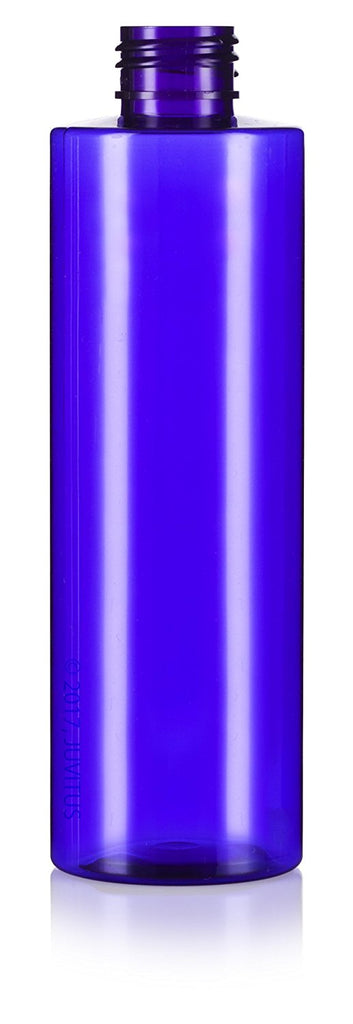 Cobalt Blue 8 oz / 250 ml Professional Cylinder PET Bottles (BPA Free) with Black Disc Cap Lid + Labels for Shampoo, Conditioner, Body Wash, Lotion, and more