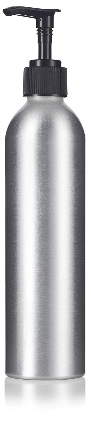 Metal Aluminum Bottle in Silver with Black Lotion Pump - 8 oz / 250 ml