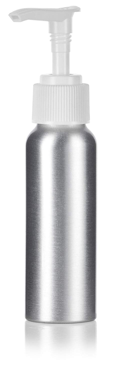 Metal Aluminum Bottle in Silver with White Lotion Pump - 2.7 oz / 80 ml