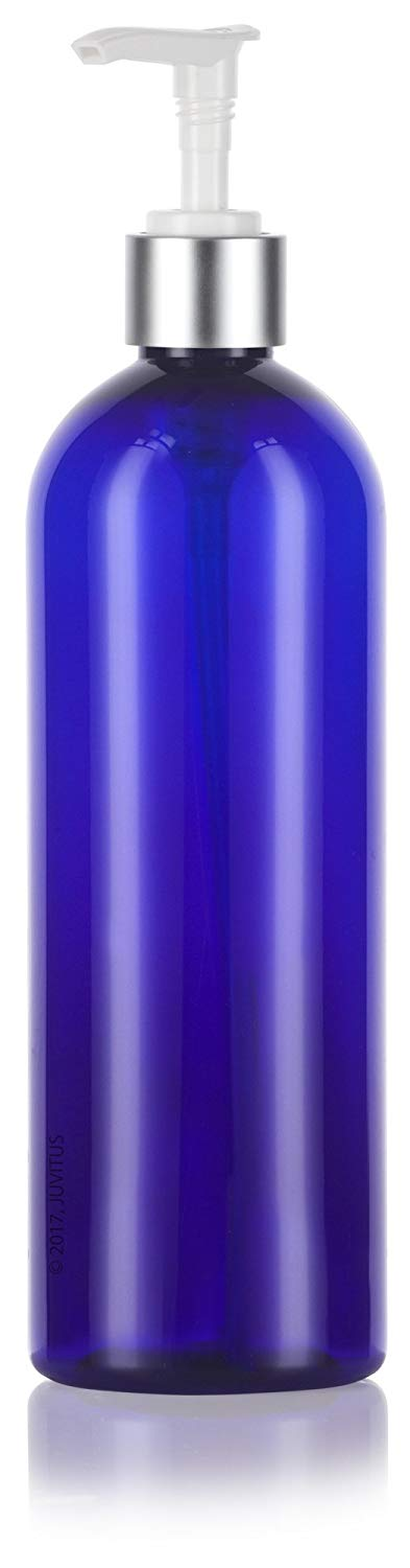 Cobalt Blue Plastic Slim Cosmo Bottle with Silver Lotion Pump - 16 oz / 500 ml