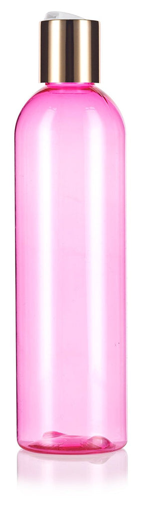 Pink 8 oz / 240 ml Slim Cosmo Round PET (BPA Free) Plastic Bottle with Gold Disc Cap + Labels