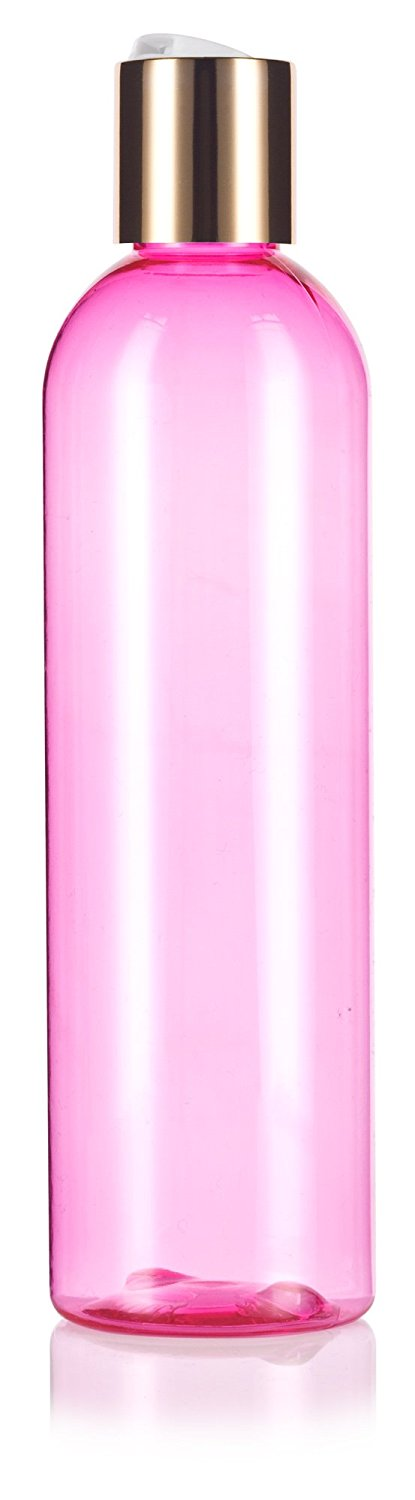 Pink Plastic Slim Cosmo Bottle with Gold Disc Cap - 8 oz / 250 ml
