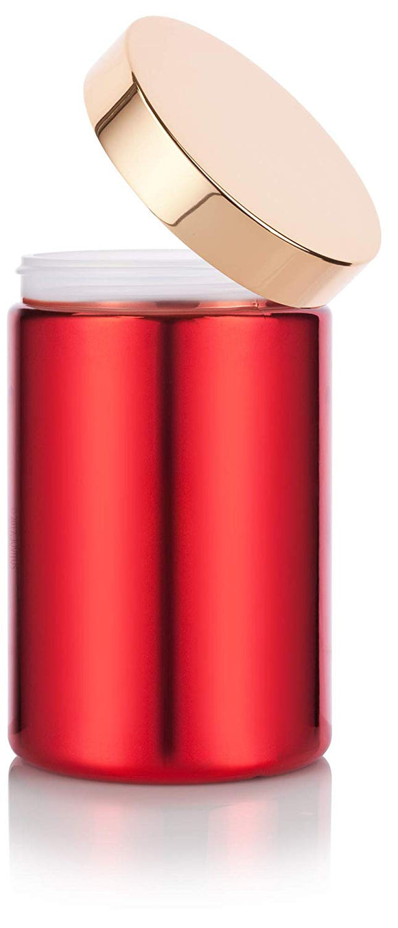Plastic Jar in Red with Gold Metal Overshell Lid - 25 oz / 740 ml