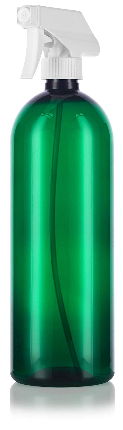 Green Plastic Slim Cosmo Trigger Spray Bottle with White Sprayer - 32 oz / 950 ml