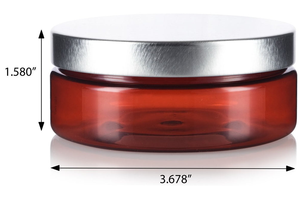 4 oz / 120 ml Amber PET Plastic (BPA Free) Refillable Extra Low Profile Jar with Silver Metal Lid + Spatulas and Labels