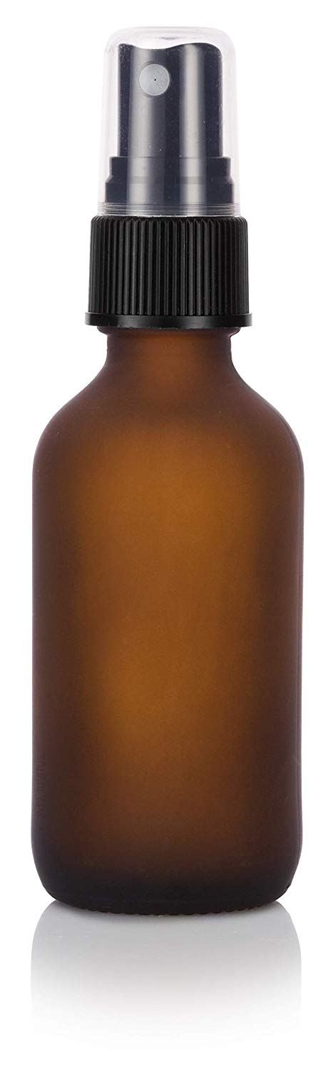 Frosted Amber Glass Boston Round Fine Mist Spray Bottle with Black Sprayer - 2 oz / 60 ml - JUVITUS
