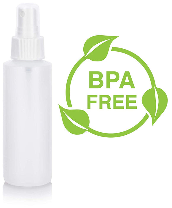 Natural Clear Plastic Squeeze Bottle with White Fine Mist Spray - 4 oz / 120 ml