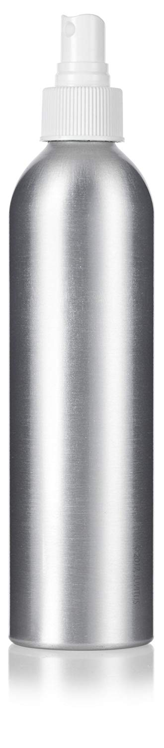 Metal Aluminum Bottle in Silver with White Fine Mist Spray - 8 oz / 250 ml