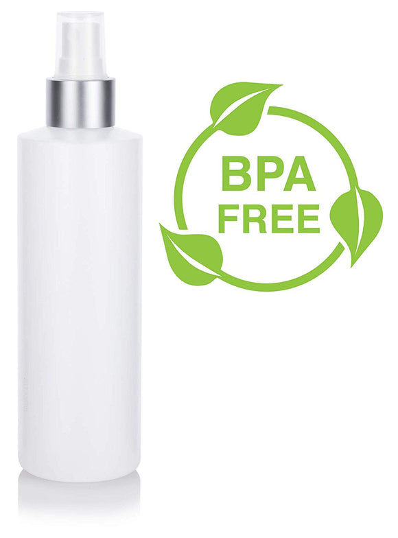 Natural Clear Plastic Squeeze Bottle with Silver Fine Mist Spray - 8 oz / 240 ml