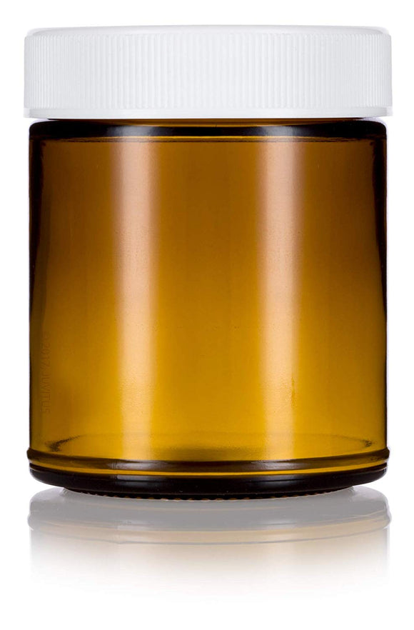 Glass Jar in Amber with White Ribbed Lid - 9 oz / 270 ml