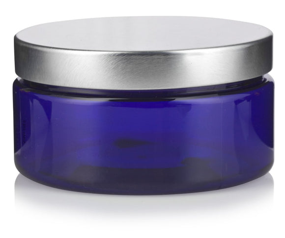 Plastic Heavy Wall Low Profile Jar in Cobalt Blue with Silver Metal Foam Lined Lid - 8 oz / 240 ml