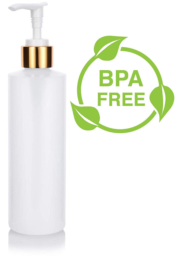 Plastic Squeeze Bottle in Natural Clear with Gold Lotion Pump - 8 oz / 250 ml