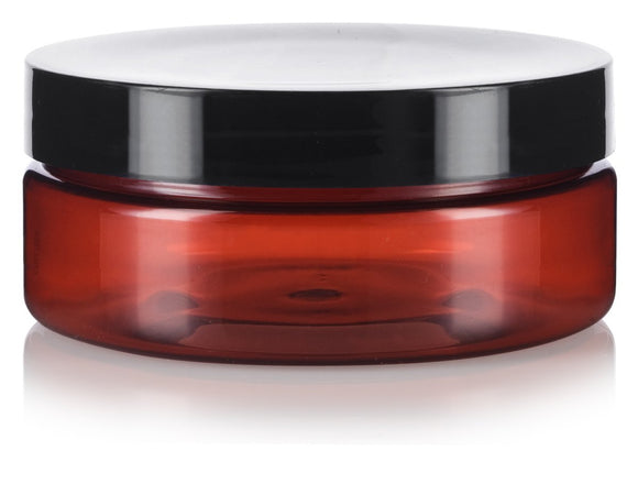 Plastic Extra Low Profile Jar in Amber with Black Foam Lined Lid - 4 oz / 120 ml
