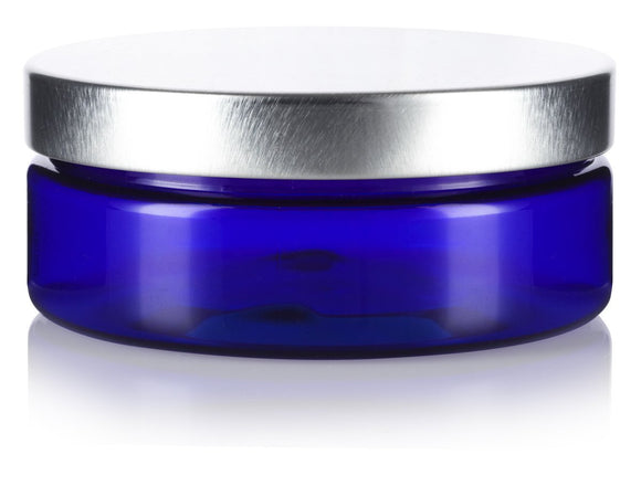 4 oz / 120 ml Cobalt Blue PET Plastic (BPA Free) Refillable Extra Low Profile Jar with Silver Metal Lid + Spatulas and Labels