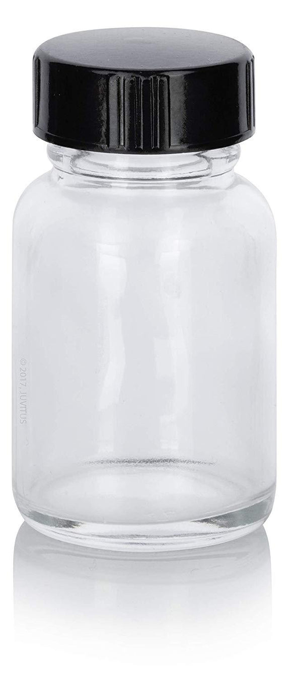 Glass Wide Mouth Bottle in Clear with Black Phenolic Cap - 1 oz / 30 ml