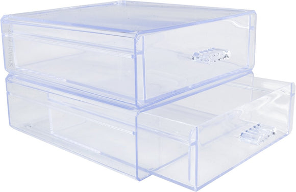 2-Pack of Clear Plastic Stackable Drawer Organizer for Jewelry, Makeup, and Cosmetics