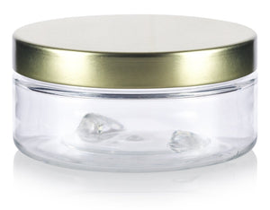 Plastic Low Profile Jar in Clear with Gold Metal Foam Lined Lid - 3 oz / 90 ml