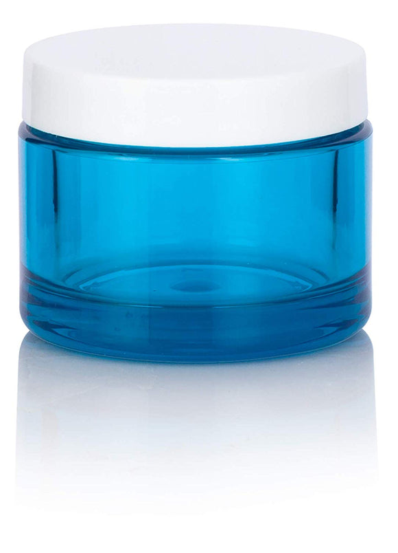 Turquoise Plastic Balm Jar with White Lid - 1.7 oz / 50 ml