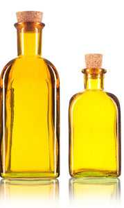 Glass Spanish Bottle in Yellow with Natural Cork Top - 8 oz / 250 ml and 17 oz / 500 ml