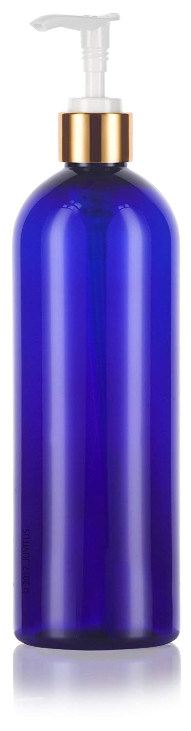Cobalt Blue Plastic Slim Cosmo Bottle with Gold Lotion Pump - 16 oz / 500 ml