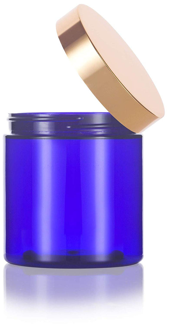 Plastic Jar in Cobalt Blue with Gold Metal Overshell Lid - 8 oz / 240 ml