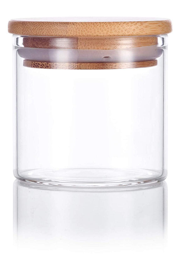 Glass Borosilicate Jar in Clear with Bamboo Silicone Sealed Lid - 4 oz / 120 ml - JUVITUS